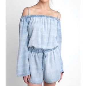 Long Sleeve Off Shoulder Chambray Romper - NWT